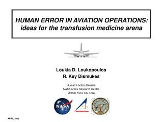 HUMAN ERROR IN AVIATION OPERATIONS: ideas for the transfusion medicine arena