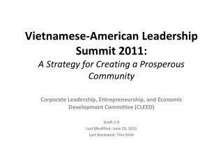 Vietnamese-American Leadership Summit 2011:  A Strategy for Creating a Prosperous Community