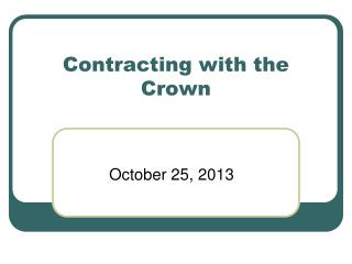Contracting with the Crown