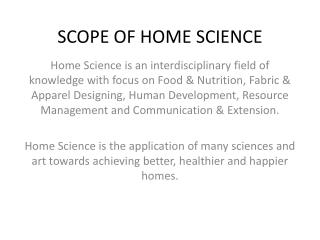 SCOPE OF HOME SCIENCE