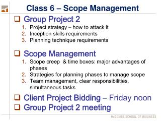 Class 6 – Scope Management