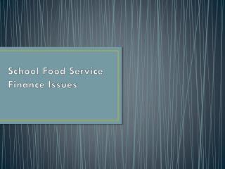 School Food Service Finance Issues