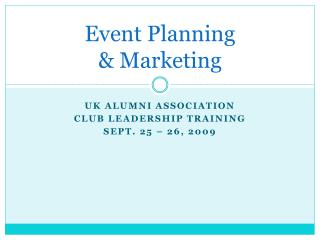 Event Planning & Marketing