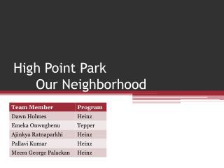 High Point Park Our Neighborhood