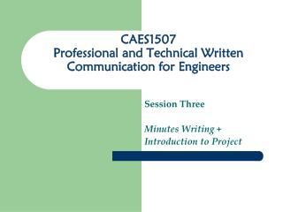 CAES1507 Professional and Technical Written Communication for Engineers