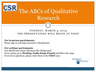 The ABCs of Qualitative Research