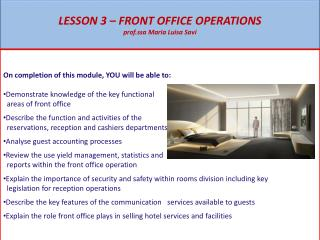 LESSON 3 – FRONT OFFICE OPERATIONS prof.ssa Maria Luisa Savi