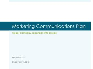 Marketing Communications Plan