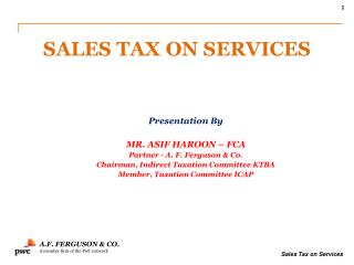 SALES TAX ON SERVICES