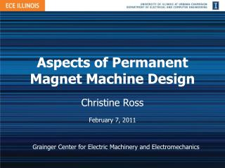Aspects of Permanent Magnet Machine Design