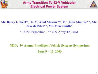 Army Transition To 42-V Vehicular  Electrical Power System