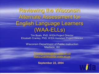 reviewing the wisconsin alternate assessment for  english language learners waa-ells