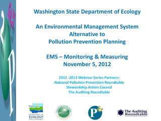 Washington State Department  of Ecology An Environmental Management System Alternative to Pollution Prevention Planning