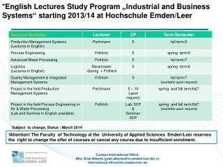 "*English  Lectures Study  Program  ""Industrial  and Business    Systems ""  starting  2013/14 at Hochschule Emden/Lee"