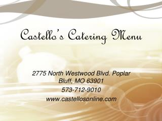 Castello's  Catering Menu