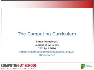 The Computing Curriculum