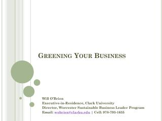 Greening Your Business