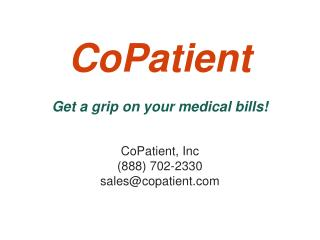 CoPatient Get a grip on your medical bills!