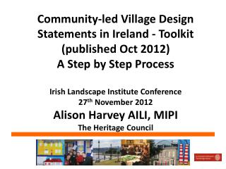 Community-led Village Design Statements in Ireland - Toolkit (published Oct 2012)  A Step by Step Process Irish Landscap