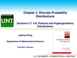 Chapter 4. Discrete Probability Distributions Sections 4.7, 4.8: Poisson and  Hypergeometric  Distributions
