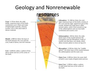 Geology and Nonrenewable resources