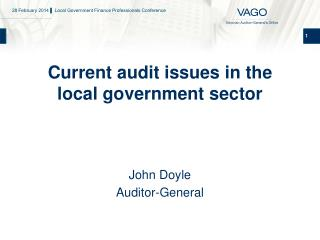 Current audit issues in the local government sector