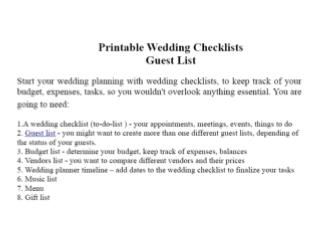 Printable Wedding Checklists - guest list