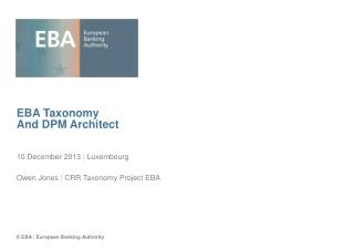 EBA Taxonomy And DPM Architect