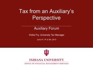 Tax from an Auxiliary's Perspective