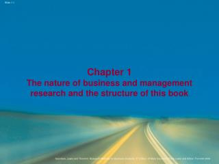 Chapter 1 The nature of business and management research and the structure of this book