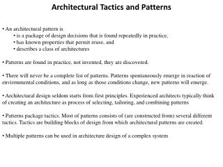 Architectural Tactics and Patterns