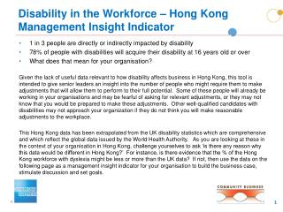 Disability in the Workforce – Hong Kong Management Insight Indicator