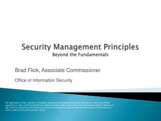 Security Management Principles Beyond the Fundamentals