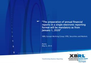 XBRL Europe Working Group: IFRS, Securities and Markets Working Group