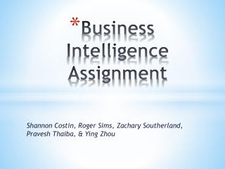 Business Intelligence Assignment