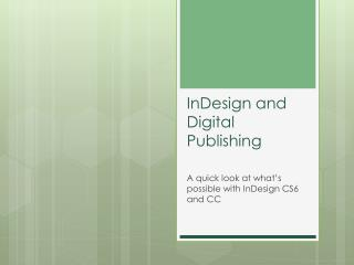 InDesign and Digital Publishing