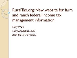 RuralTax.org: New website for farm and ranch federal income tax management information
