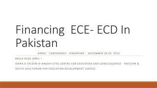 Financing  ECE- ECD In Pakistan