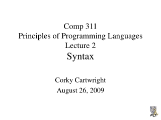 syntax specification and analysis