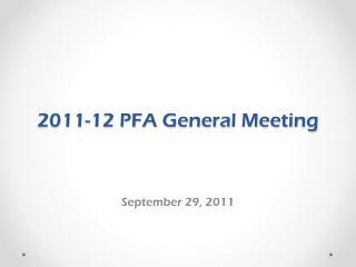2011-12 PFA General Meeting