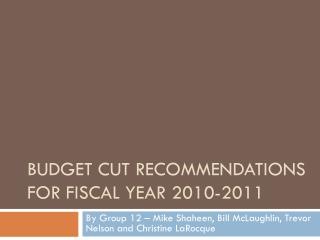 BUDGET CUT RECOMMENDATIONS FOR fiscal  yEAR  2010-2011