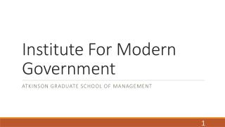 Institute For Modern Government