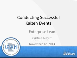 Conducting Successful  Kaizen Events