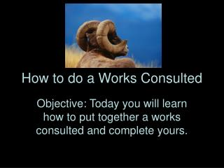 How to do a Works Consulted