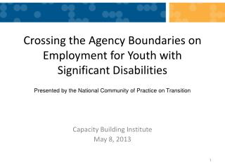 Crossing the Agency Boundaries on Employment for Youth with Significant Disabilities