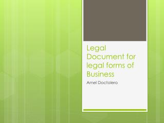 Legal Document for legal forms of Business