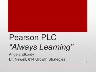"Pearson  PLC ""Always  Learning"""