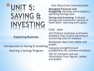 UNIT 5:   SAVING & INVESTING