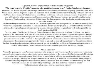 """Opportunity or Exploitation? The Bracero Program """"We came to work. We didn't come to take anything from anyone."""" - Isaí"""