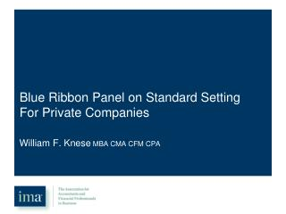 Blue Ribbon Panel on Standard Setting For Private Companies